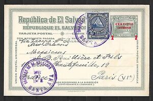 El Salvador covers 1923 uprated PC Santa Ana to Paris