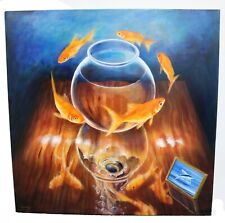 MAGNIFICENT Daniel LOVEDAY Surreal GOLDFISH IV Acrylic On Canvas PAINTING