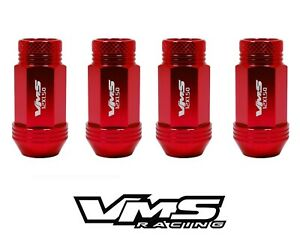 20 RED VMS RACING 50MM 12X1.5 CNC ALUMINUM LIGHTWEIGHT WHEEL RIM LUG NUTS SET E
