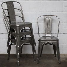Metal Dining Chair Stackable Industrial Vintage Style Seat Bistro Cafe Kitchen Steel 4