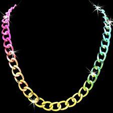 Metallic Multi Color Pink Rainbow Aqua Diamond Cut Chain Link Statement Necklace