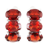 100% NATURAL 7X5MM GARNET DEEP RED 3-STONE RARE STERLING SILVER 925 EARRING