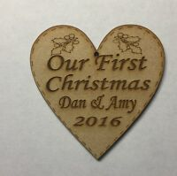 hand made personalised first christmas heart tree decoration bauble