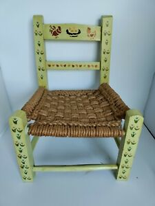 VTG FOLKART Wood Hand-painted Flowers Chickens Woven Seat Childs Doll Chair