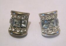 Lovely chic silver tone metal earrings white stone decoration approx 1 cm wide