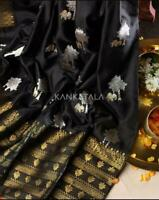 Beautiful Soft Silk Black Jacquard Saree Blouse Partywear Sari Indian Clothing