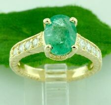 2.05 ct 14k Antique Inspired Yellow Gold Ladies Natural Emerald & Diamond Ring