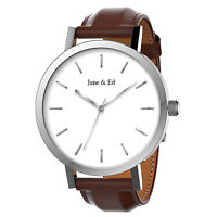 June & Ed Quartz Stainless Steel Men's Watch with Sapphire Crystal Dial Window