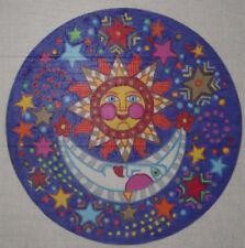 GAY HUNTLEY  HANDPAINTED NEEDLEPOINT SUN MOON STARS HP NP