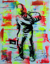 steve jobs banksy PyB signed tableau pop street art graffiti french painting