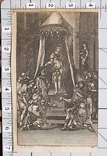 1709 VIRGIL AENEID PRINT Du Guernier YOUNG PRINCE KING AT THRONE