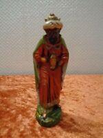 Figurine Crèche Roi Papier / Papp-Masse ( Très Léger ) - Hauteur 8 cm - Vintage
