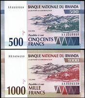 Rwanda 2 Pcs SET, 500 - 1000 Francs 1994,  UNC, P-23 P-24, Prefix AA