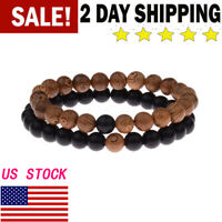 2Pcs Couple His & Hers Natural Lava Wooden Bead Women Men Distance Bracelets Hot