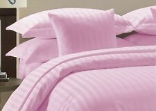 Egyptian Cotton 1200 Thread Count 3 Piece Duvet Cover Set Pink Striped
