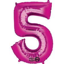 Número 5 Rosa con Forma Globo Cumpleaños Aniversario Decoración Fiesta