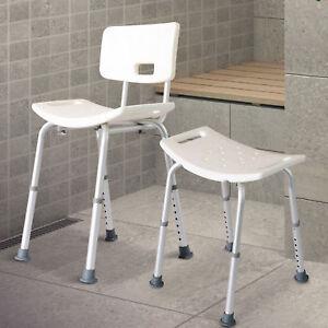 Bath Shower Chair Bench Portable Medical Stool Adjustable Back Armrest 2 Types