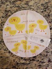 "NEW PIER 1 ""HELLO SPRING"" SET OF 4 HARD PLASTIC SALAD PLATE BABY CHICKS DESIGN"