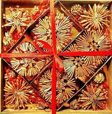 Box of 56 Scandinavian Straw Christmas Ornaments  New Stars Snowflakes Bells