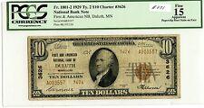 1929 $10 NBN #3626 (#871) First & Am NB Duluth, MI. PCGS F15 Apparent (Stain) Ve