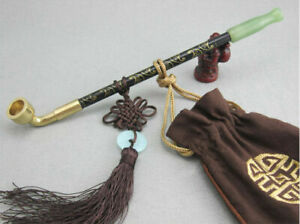 Chinese Long Stem Tobacco Smoking Pipes Wood Jade Cigarette Holder Pipe 25cm Hot