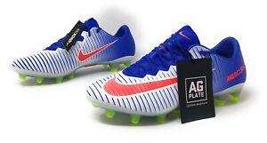 Nike Women's Mercurial Vapor XI Size 8 AG-PRO SoccerCleats White Blue 844230-164