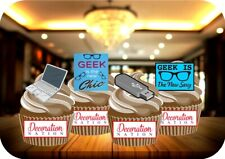 Geek Is The New Sexy Mix 12 Edible STANDUP Cake Toppers Decoration Birthday Fun