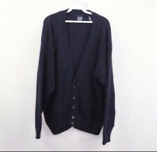 Vintage 90s Gap Mens XL Full Button Ribbed Knit Cardigan Sweater Navy Blue
