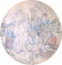 Unbekannt monogrammiert / Aquarell / orientalischer Sklavenmarkt mit zwei Frauen