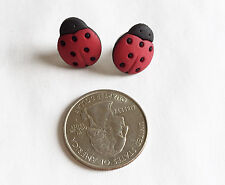 Ladybug Red & Black Resin Button Stud Earrings Handmade