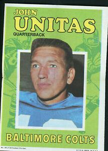 "1971 TOPPS FOOTBALL POSTER #29 JOHN UNITAS 5"" x 7"" Excellent Condition!"