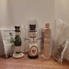 3 Chris Haughey Designs Snowmen Candleholder Kits,two Partially Finished