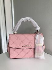 a5ae8223abe3 NWT MICHAEL KORS Ava Mini Extra-small Quilted Leather Crossbody In Pale Pink