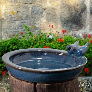Vogeltränke, Vogelbad - Rund - Keramik, Petrol,  Vogelbecken