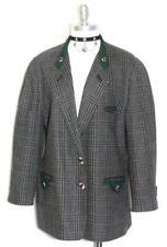 STEINBOCK WOOL Coat Women GREEN BLACK WHITE Tweed AUSTRIA Winter JACKET 42 14 L