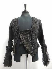 Antique Victorian jacket black silk with lace & beading boned small 23""