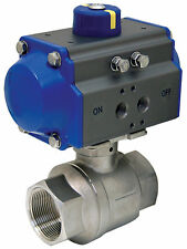 """1-1/2"""" Pneumatic Actuated Stainless Steel Ball Valve, Spring Return, New"""