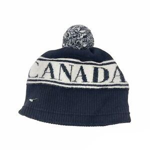 Canada Goose Kids Wool Logo Toque Beanie Black White Colorblock Pompom 6959K