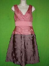 Adrianna Papell sleeveless dress size 8  M ruffle tier layer v-neck pink lined