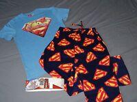 NEW Superman 2pc Sleep Set Pajama Pants T-Shirt DC Comic Lounge MEN'S Size S M
