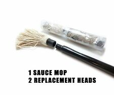 BBQ CHOICE Set of Hardwood/Cotton Barbecue Sauce Mop & 2 Replacement Heads