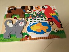 Melissa & Doug Wooden Chunky Jigsaw Puzzle Pets Dog Cat Parrot Fish