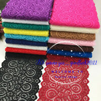 1YD, Flower Stretch Lace Trim Ribbon Elastic fabric 18cm wide Sewing Craft FL251
