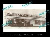 OLD LARGE HISTORIC PHOTO OF LAMEROO SA, VIEW OF CAMBELLS GENERAL STORE c1910