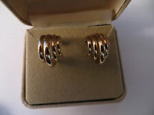 Solid 14K Yellow Gold Hugging Multi Hoop Earrings 2.77 grams