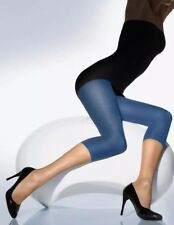 BNIB 100% Auth Wolford, Ladies Luxury Velvet 66 Capri Leggings. Allure Blue S