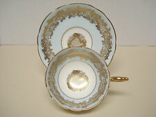 Coalport Tea Cup and Saucer Pale Blue Gold Gilt
