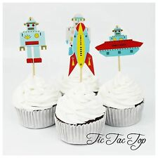 12 x Robot Rocket Spaceship alien Cupcake TOPPERS Party **Superb Quality**