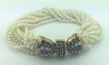 Ladies 1960'S   Estate 18K Gold Multi Strand Pearl Diamond & Sapphire Bracelet