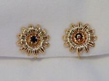 "Tiffany & Co (?) VTG 14K Yellow Gold Flower Clip Earrings with Garnets 3/4"" diam"